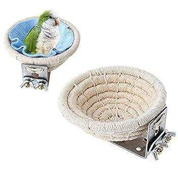 MEISO Nid d'élevage d'oiseau en corde de coton pour perruches, calopsittes, conures, canaris, inséparables et petits perroquets