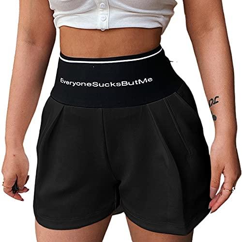 Pantalones cortos deportivos de verano con estampado de letras para mujer