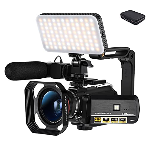 tquuquu Cámara De Video 4k para Blogger, Visión Nocturna por Infrarrojos Youtube...