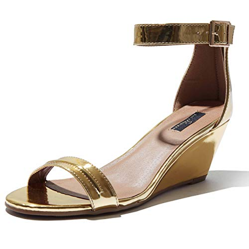 DailyShoes wedge shoes open toe Wedge Heeled For Women Mid Wedges Sandals Ankle Strap Open Toe High Beach Shoes Heels Buckle Straps Toed Strappy Sandal Gold,pt,8.5