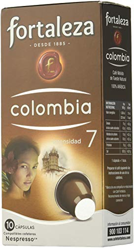 Café Fortaleza - Cápsulas de café de Colombia Compatibles con Nespresso - Pack 5 x 10 - Total 50 Cápsulas