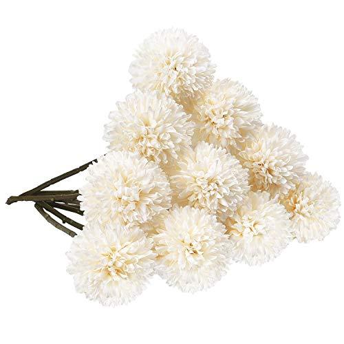 Alishomtll Seide Hortensien Kunstblumen Kugel, Unechte Deko Blumen Blüten Hochzeitsblumenstrauß 10 Köpfe für Hausgarten Party, Weiß