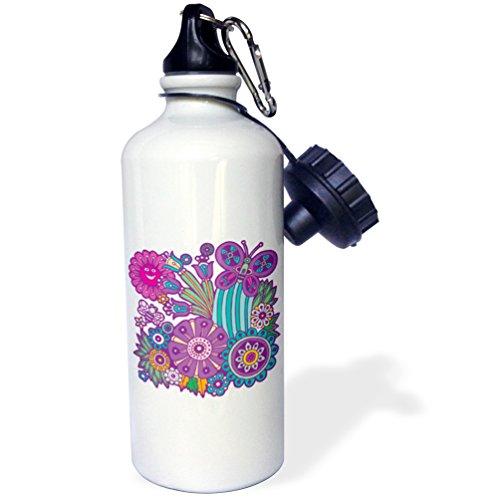 3dRose Unisexe 1 Mignon Fleurs d'été Abeille et Papillon Dessin animé Artsy Nature Design-Water Bouteille (WB Suspendu et Accessoire 1), Blanc, 595,3 Gram