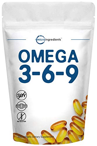 Triple Omega 3 6 9, 3600mg Per Serving, 300 Softgels, Including Fish Oil, Flaxseed Oil and Evening Primrose Oil, Strongly Supports Heart and Vascular Health, No GMOs and No Gluten