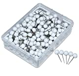 JoyFamily Map Tacks Push Pins, 1/5-Inch Round Head, 1/2-Inch Shank, 300 Pieces (White)