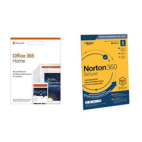 Microsoft Office 365 Home multilingual | 6 Nutzer | Mehrere PCs / Macs, Tablets und mobile Geräte | Aktivierungscode in einer Box + Norton 360 Deluxe 2020 | 5 Geräte | 1 Jahr | FFP | Download