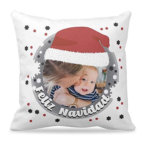 Cojines Navidad personalizados con foto y mensaje navideño   Cojín de 40x40 cm incluye Relleno   Un cojín original para Navidades como regalo y decoración navideña   Frase Feliz Navidad   Color Gris