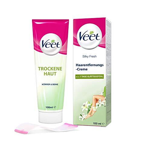 Veet Haarentfernungs-Creme Silk und Fresh trockene Haut, 1er Pack (1 x 100 ml)