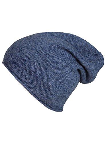 Cashmere Dreams Slouch-Beanie-Mütze mit Kaschmir - Hochwertige Strickmütze für Damen Mädchen Jungen - Hat - Unisex - One Size - warm und weich im Sommer Herbst und Winter Zwillingsherz (Jeans)