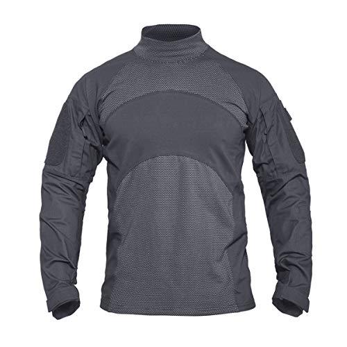 KEFITEVD Tactical Hemd Herren Langarm Bundeswehr T-Shirt Airsoft Paintball Kleidung Outdoor Military Shirt Combat Oberteil Radfahren Wandern Grau XL