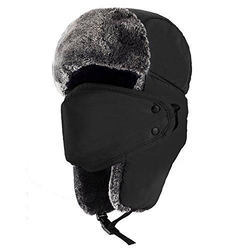 Wintermütze mit Ohrenklappen, Fellmütze, Kunstfellmütze, Fliegermütze, unisex Klassische Trappermütze, hält warm beim Skifahren, Schlittschuhlaufen und anderen Outdoor-Aktivitäten 6 Farbe (Schwarz)