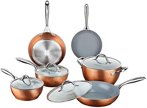 10-Piece Diamond Nonstick Ceramic Induction Cookware Set Scratch-Resistant Pots and Pans Set with Lids, Dishwasher Safe Oven Safe, Copper