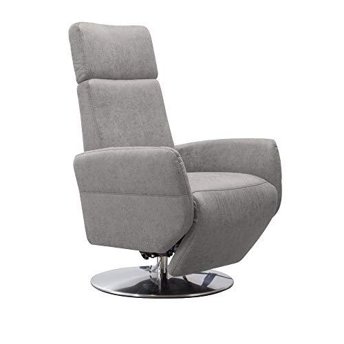 Cavadore TV-Sessel Cobra / Fernsehsessel mit 2 E-Motoren und Akku / Relaxfunktion, Liegefunktion / Ergonomie M / 71 x 110 x 82 / Lederoptik Hellgrau