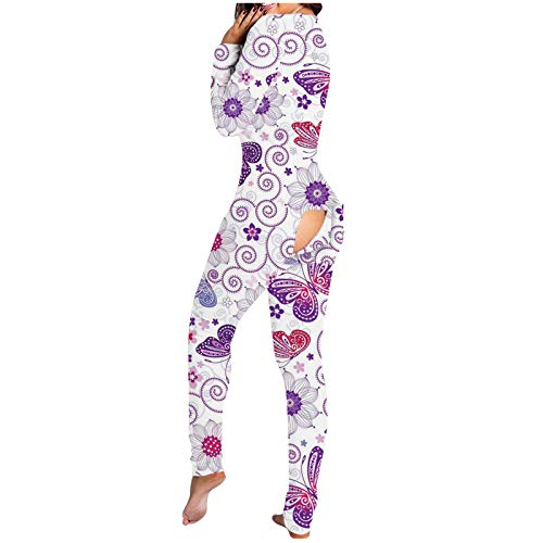 FABIURT Womens Onesie Pajamas Women'S Bodycon Jumpsuit Pajamas Sexy Onesies V-Neck Button Down Bodysuit Slim Fit Women Romper Purple