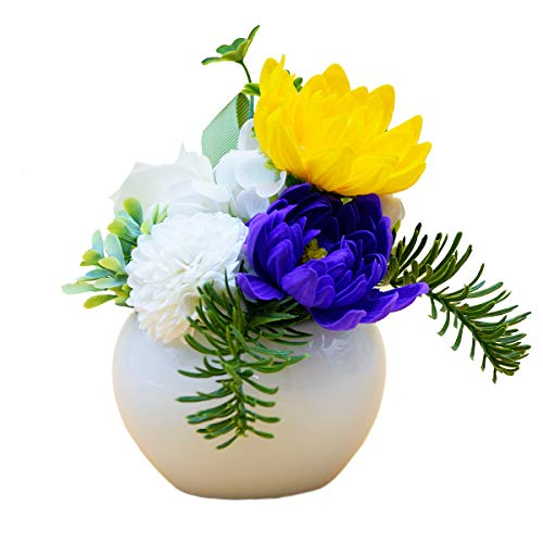 シャボンフラワー仏花 ソープフラワーアレンジメント 枯れないお花 お盆・お悔やみのお供えに最適 (あやめホワイト)