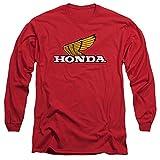 Honda Yellow Wing Logo Unisex Adult Long-Sleeve T Shirt for Men and Women, X-Large