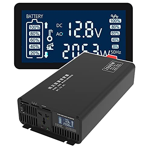 MXLPAS Inversor De Onda Sinusoidal Pura (2000W / 3000W / 4000W / 5000W - Potencia De Salida Real), Convertidor De Voltaje (DC 12V / 24V / 48V / 60V A AC 220V), Pantalla LED,2000W-12V