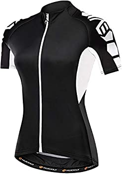 NUCKILY Women Cycling Jersey Short Sleeve Biking Shirts Ladies Bicycle Clothing Bike Jacket Tops Quick Dry with 3 Pockets Black