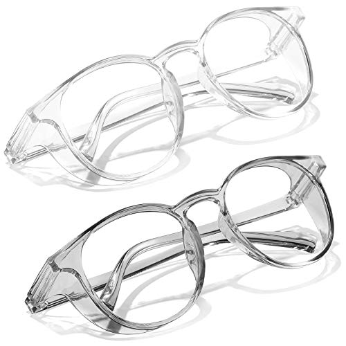 SeeBand Safety Glasses Anti Fog Round Clear Safety Goggles Scratch Resistant with Blue Light Blocking Glasses for Women Men (Transparent/Clear Grey)