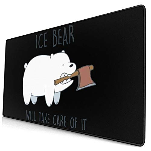 Qiyies We Bare Bears Mouse Pad 15.8x29.5 Inch Mat Laptop Home Office Computer Rectangular Non-Slip Rubber Mouse Pad