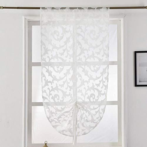 Korte keuken gordijn moderne raambehandeling vastbinden ballon gordijn thuis textiel pure gordijn paneel tule wit zwart jacquard, wit, W80cm L120cm