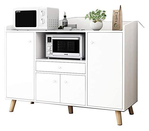 HLZY Armario lateral de cocina, aparador de buffet, aparador de almacenamiento con puertas, entrada, cocina, comedor, sala de estar, villa, decoración de muebles (color: blanco)
