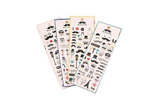 2 Hojas de Pegatinas de Colores Scrapbooking, para la decoración de Calendario, teléfono Inteligente, Ordenador, Macbook, Libro, Cuaderno, Taza NOVAGO (Bigote X2)