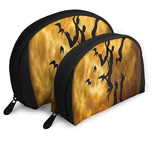 Trousse de Maquillage Humain Moon Moonlight Portable Shell Embrayage Poche pour Les Femmes Voyage 2 Pack