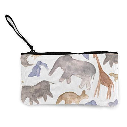 Frauen Leinwand Geldbörse, Silhouette Wildlife Pattern Brieftasche Geldbörse Leinwand Reißverschluss Geldkarte für den Einkauf