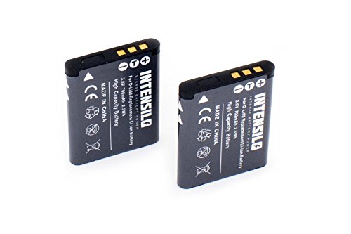 INTENSILO 2X Li-Ion batería 700mAh (3.6V) para cámara videocámara Toshiba Camileo PX1686, SX-500, SX-900 por D-Li88, VW-VBX070, DB-L80.