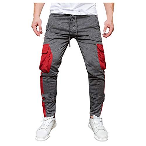 Jogger Cargo Chino jeans broek elastische taille heren lange vrije tijd sportbroek slim fit ruiten joggingbroek Large rood
