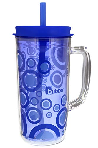 Bubba Envy Travel Thermal Mug, 48 Ounces - Double Wall Insulated with Straw - Keep All Your Favorite Cold Drinks at Your Side - Sweat Resistant, Ideal For Travel - Serenity with Blue Bubbles Graphic
