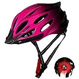 Creamon Casco de Bicicleta, Casco de Bicicleta Casco de Bicicleta de Carretera de montaña Ajustable Casco de Bicicleta Ligero para Hombres Mujeres Rosa