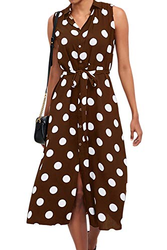 Vestidos Midi con Botones Sin Mangas De Cintura Alta De Chifón De Lunares para Mujer