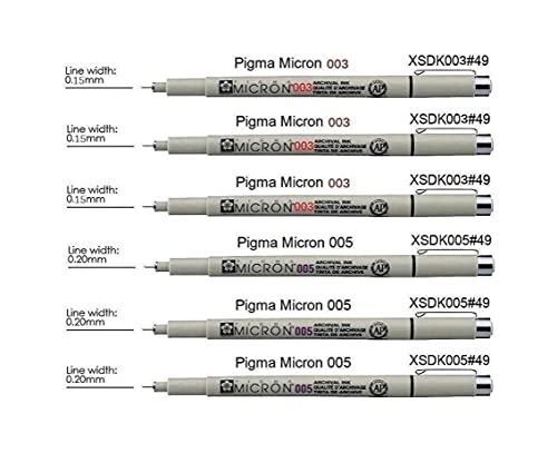 Sakura PIGMA MICRON 003,003,003,005,005, 005, 6 unidades, color negro (Francia Import)