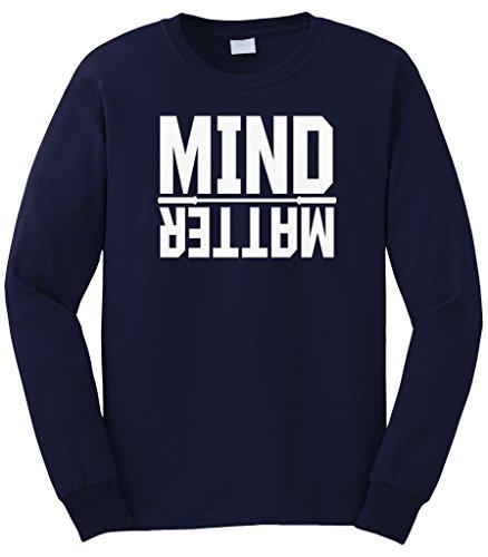 Cybertela Men's Mind Over Matter, Motivational Workout Long Sleeve T-Shirt (Navy Blue, Large)