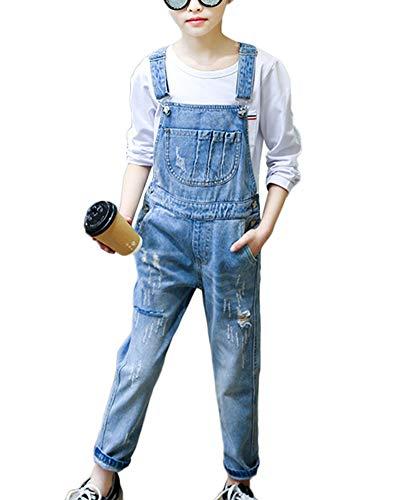 Mädchen Kinder Latzhose Freizeit Jumpsuit Lang Overall Denim Jeans Hosen Mit Hosenträger 140CM