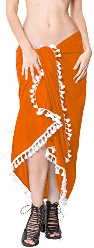 LA LEELA Vintage Brujas Pirata De Miedo Skeleton Owl Esqueleto Calabaza s Cráneo Cosplay Disfraces De Fiesta De Halloween Fantasma Las Mujeres Bikini Traje de baño skrirt Pura Gasa Pareo Naranja_B333