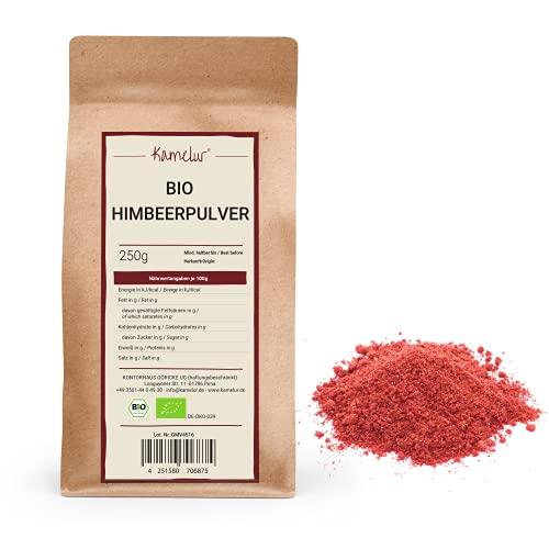 250g de poudre de fruits biologiques à base de framboises lyophilisées - poudre de framboises fruitée, finement moulue et sans additifs - dans un emballage biodégradable