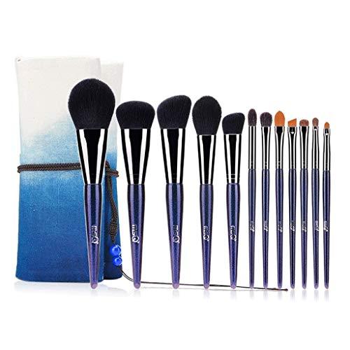 SFGH Pinceau de Maquillage Professionnel 12 pièce faciale mélange d'oeil Base correcteur Outil pour débutant Charme Bleu avec Sac de Rangement