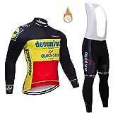 CQXMM Homme Maillot de Cyclisme Manches Longues Vestes de Cyclisme + Coussin Rembourrés en Gel 5d Pantalons Vélo VTT Vêtements Respirant Automne Hiver Maillot