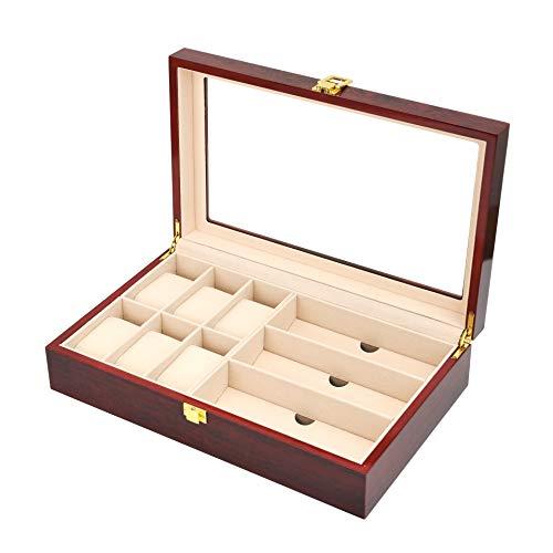 JEEP-711 Uhrenbox,Uhr-Aufbewahrungsbox mit Kunstleder für 12 Uhren,Aufbewahrungsbox für 6 Uhren und 3 Paar Brillen