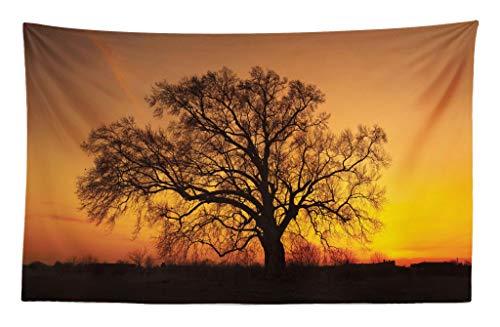 ABAKUHAUS Baum Wandteppich & Tagesdecke Baum Abbildung im Sonnenuntergang einsames emotionales Natur Fotographieaus Weiches Mikrofaser Stoff 230 x 140 cm Waschbar ohne Verblassen Orange Braun…