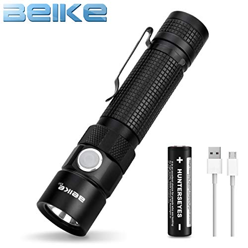 BEIKE USB Rechargeable Flashlight, IPX8 Waterproof Small Portable LED Flashlight with Clip for Camping Hiking Emergency EDC (18650 Battery Included)