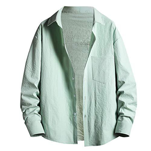 Yowablo Hemden Herren Frühling Sommer Casual Slim Printed Langarm Top Beach Bluse (5XL,4Grün)