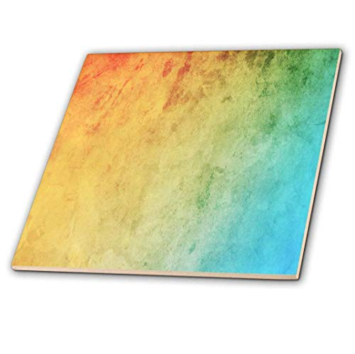 "3dRose ct_163979_4 Red, Orange, Yellow, Green, Blue Gradient Ceramic Tile, 12"""