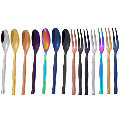 Vanra degustazione di pezzi Set di forchette in acciaio INOX 18/10forchette frutta 2rebbi cocktail Appetizer Fork design forcella da dessert 5.5in 7 Forks+7 Spoons Colorful