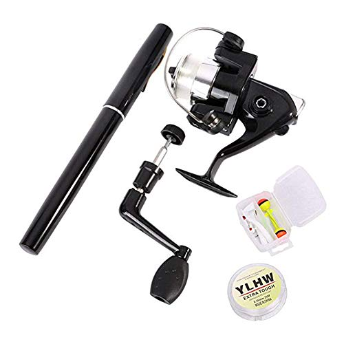 AZHOKTD - Carrete de caña de Pescar portátil para niños, 39 Pulgadas, Mini caña de Pescar de Bolsillo de Viaje, aleación de Aluminio telescópica, caña de Pescar y señuelos de Pesca, Negro