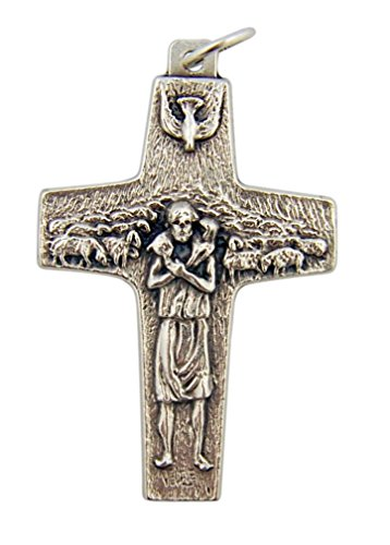 Good Shepherd Jesus Christ Crucifix 1 5/8 Inch Silver Tone Pope Francis Cross