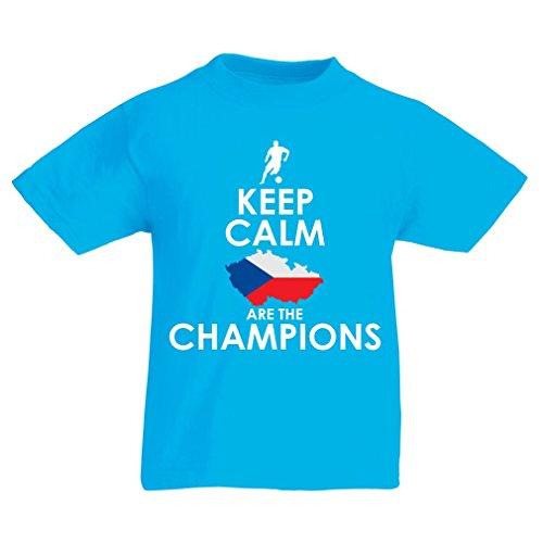 N4496K La Camiseta de los niños Czechs Are The Champions (9-11 Years Azul Claro Multicolor)